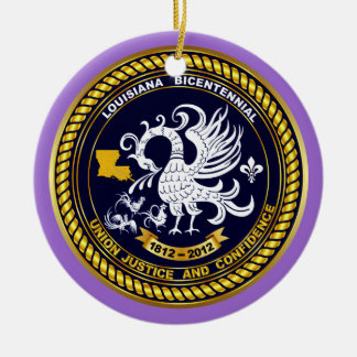Bicentennial Louisiana Mardi Gras Party See Notes Double-Sided Ceramic Round Christmas Ornament