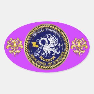 Bicentennial Louisiana Mardi Gras Party See Notes Oval Sticker