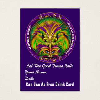 Bicentennial Mardi Gras Throw Card Plain Back