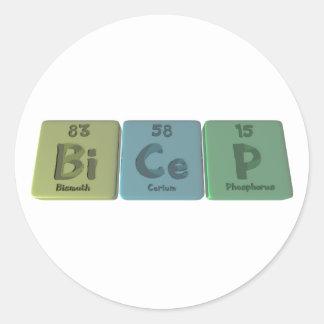 Bicep-Bi-Ce-P-Bismuth-Cerium-Phosphorus Classic Round Sticker