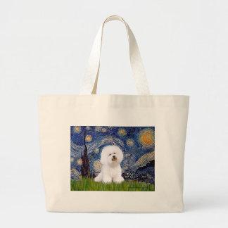 Bichon 1 - Starry Night Large Tote Bag
