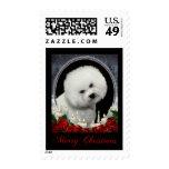 Bichon Christmas Postage Stamps