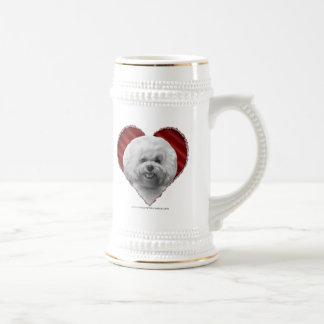 Bichon con el corazón tazas de café
