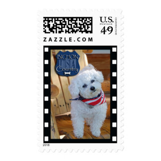 Bichon country with negative frame postage stamps