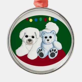 Bichon dog n bear Christmas Ornament