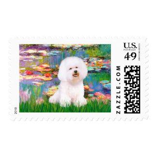 Bichon Frise 1 - Lilies 2 Stamp