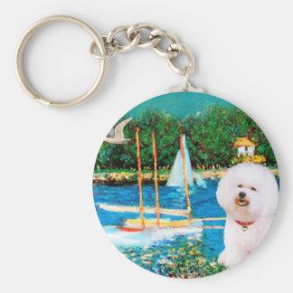 Bichon Frise 1 - Sailboats 1 Keychain