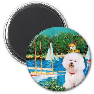 Bichon Frise 1 - Sailboats 1 Magnet