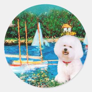 Bichon Frise 1 - Sailboats 1 Round Stickers