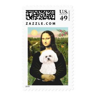 Bichon Frise 2R - Mona Lisa Postage Stamp