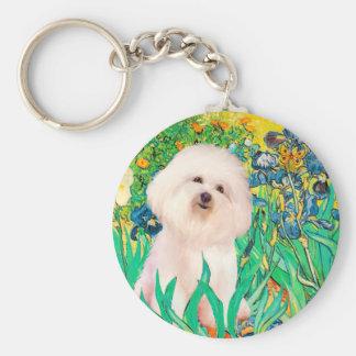 Bichon Frise 4  - Irises - Customized Keychain