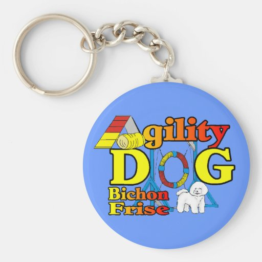 Bichon Frise Agility Gifts Basic Round Button Keychain