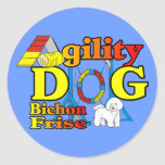 Bichon Frise Agility Gifts Round Stickers