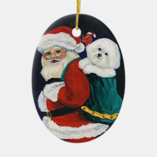 Bichon Frise and Santa Art Christmas Ornament