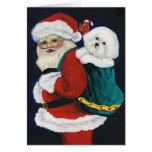 """Bichon Frise and Santa"" Dog Art Christmas Card"