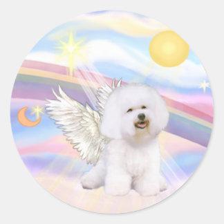 Bichon Frise Angel Classic Round Sticker