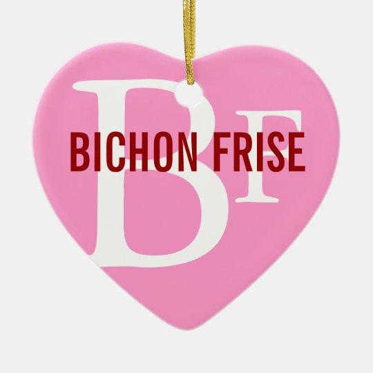 Bichon Frise Breed Monogram Design Ceramic Ornament