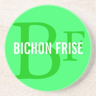 Bichon Frise Breed Monogram Design Beverage Coasters