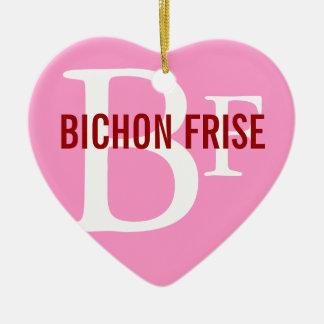 Bichon Frise Breed Monogram Design Christmas Ornaments