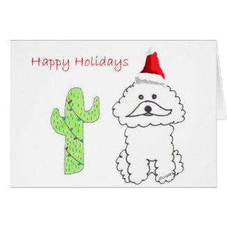 Bichon Frise Cactus Christmas Card
