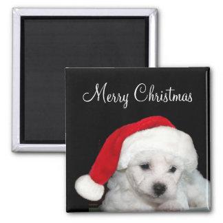 Bichon Frise Christmas 2 Inch Square Magnet