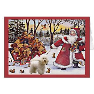 Bichon Frise Christmas Card Santa Bears