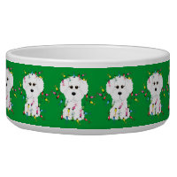 Bichon Frise Christmas Dog Bowl