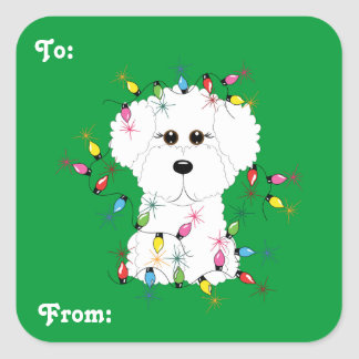 Bichon Frise Christmas Gift Stickers