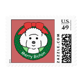 Bichon Frise Christmas Postage Stamps