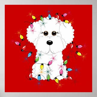 Bichon Frise Christmas Poster Print
