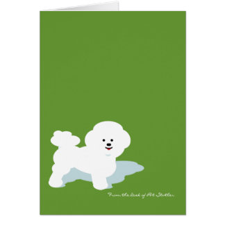 Bichon Frise Custom Note Card in Green