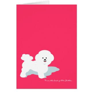 Bichon Frise Custom Note Card in Pink