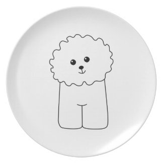 Bichon Frise, Cute Dog. Melamine Plate