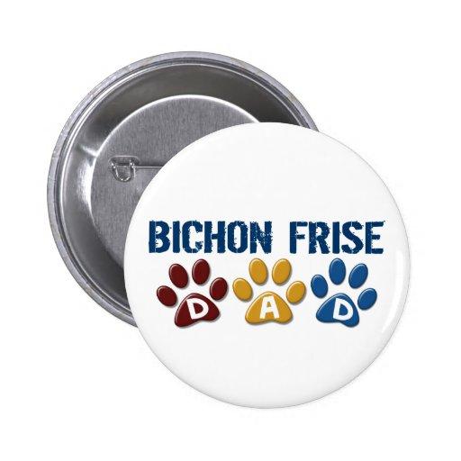 BICHON FRISE DAD Paw Print Button