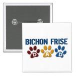 BICHON FRISE DAD Paw Print Pinback Button