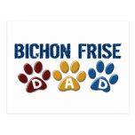 BICHON FRISE DAD Paw Print Postcards