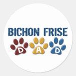 BICHON FRISE DAD Paw Print Round Stickers
