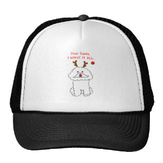 Bichon Frise Dear Santa Trucker Hat