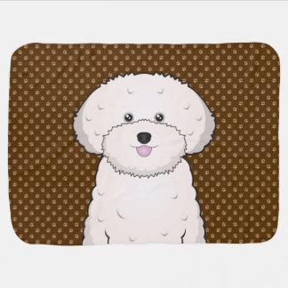 Bichon Frise Dog Cartoon Paws Baby Blanket