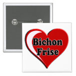 Bichon Frise Dog on Heart for dog lovers Button