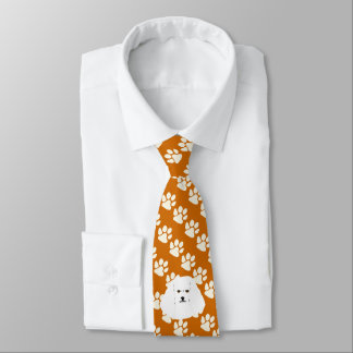 Bichon Frise Dog on rust with white Paw Prints Neck Tie