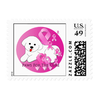 Bichon Frise Dog Pink Ribbon Postage