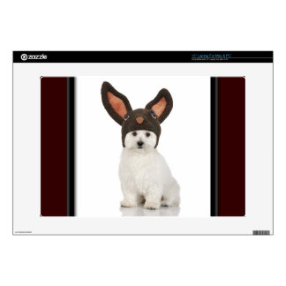 """Bichon Frise Doggy With Bunny Hat Skins For 15"""" Laptops"""
