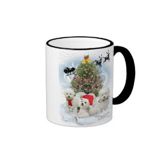 Bichon Frise Family Await Visit From Santa Ringer Coffee Mug