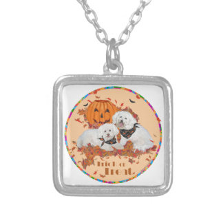 Bichon Frise Halloween Silver Plated Necklace