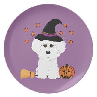 Bichon Frise Halloween Witch Plate