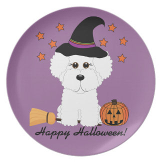 Bichon Frise Happy Halloween Witch Plate
