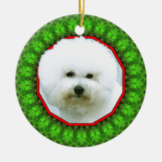 Bichon Frise Happy Howliday Double-Sided Ceramic Round Christmas Ornament