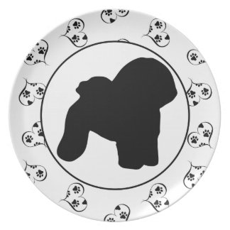 Bichon Frise Hearts and Pawprints Dinner Plate