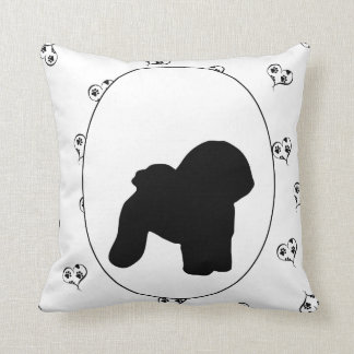 Bichon Frise Hearts and Pawprints Throw Pillow